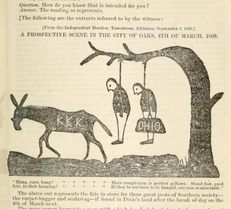 Engraving of Two Men Hanging with a Donkey with KKK on it.
