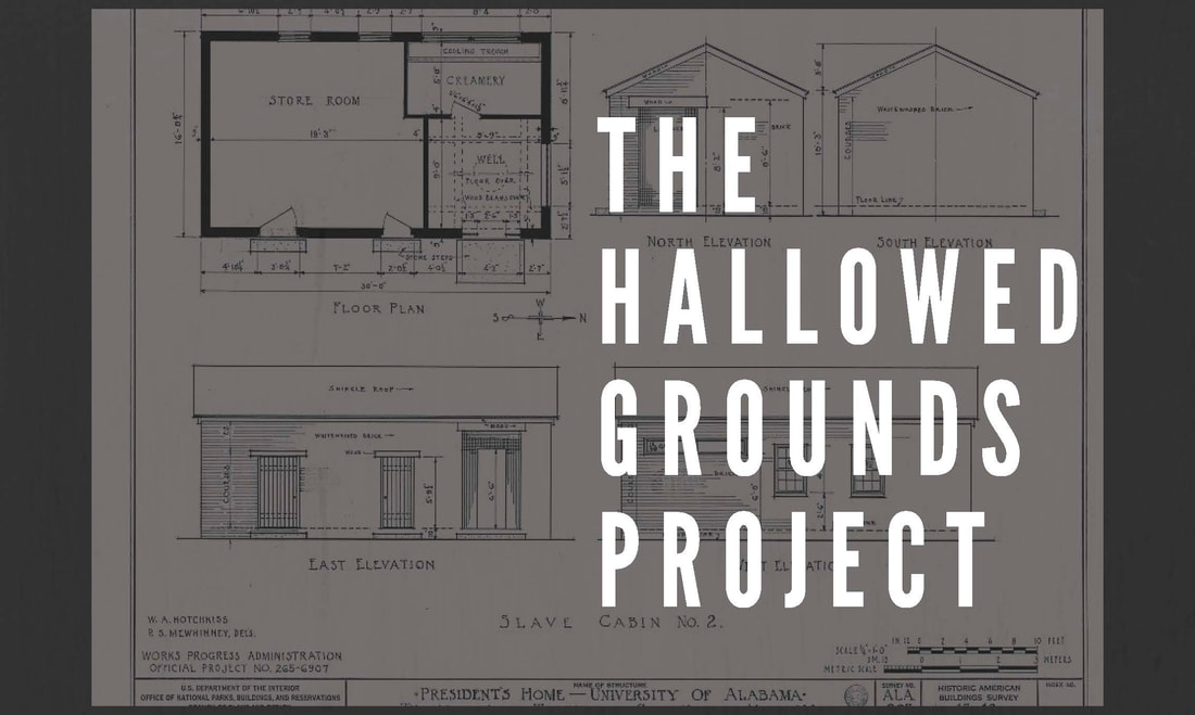 Hallowed Grounds Project layered over a architectural drawing of a President's Mansion slave cabin.
